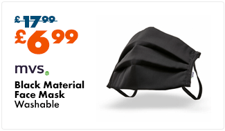 MVS Black Material Face Mask - Washable