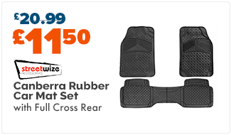 Streetwize Canberra Rubber Car Mat Set with Full Cross Rear