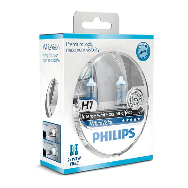 Philips White Vision Xenon Effect - H7 Twin Pack (free set of 501 Bulbs Included)