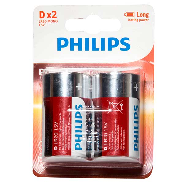 Philips Powerlife D Battery Qty 2