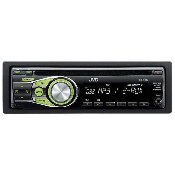 JVC CD Receiver with Dual Aux, Green illumination