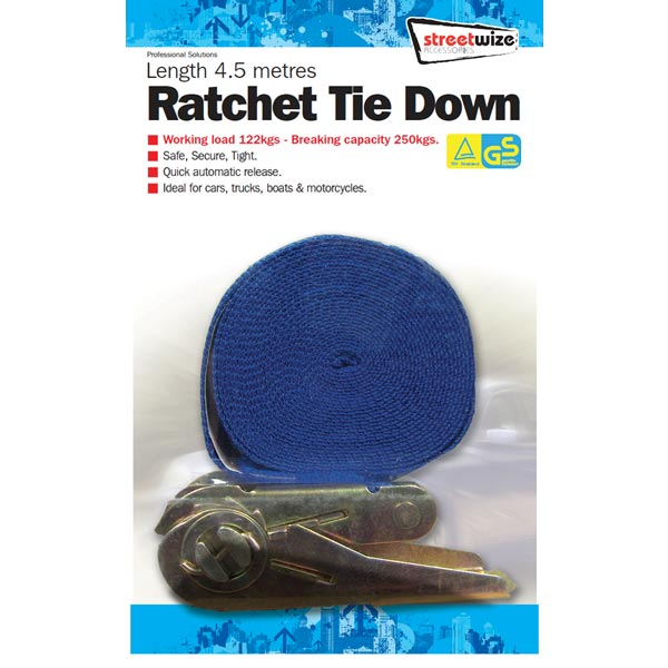 Streetwize 4.5 mtr Ratchet Tie Down Single