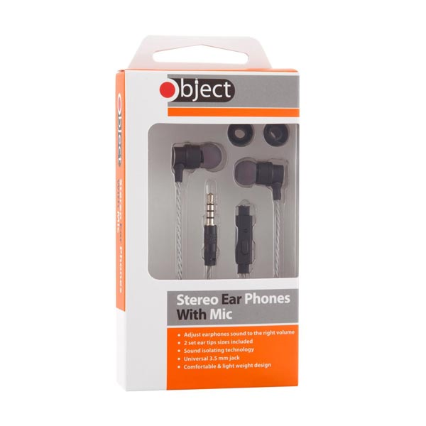 Object Earphones with Mic Silver/Black
