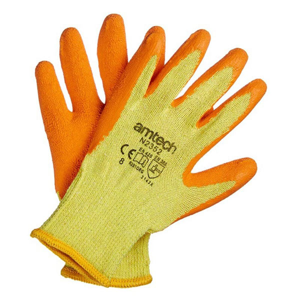 Am-Tech Latex Palm Coated Gloves Medium Size 8